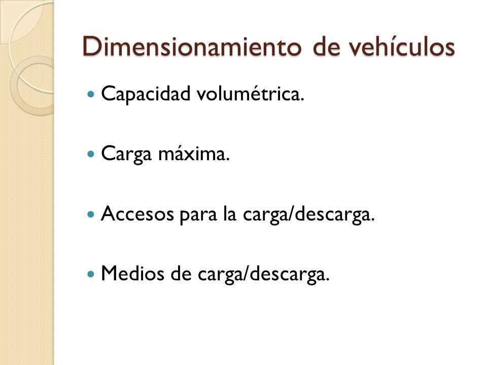 Dimensionamiento de vehículos Capacidad volumétrica. Carga máxima. Accesos para la carga/descarga. Medios de carga/descarga.