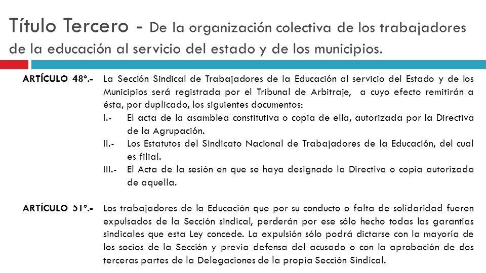 Título Tercero - De la organización colectiva de los trabajadores de la educación al servicio del estado y de los municipios. ARTÍCULO 48º.-La Sección