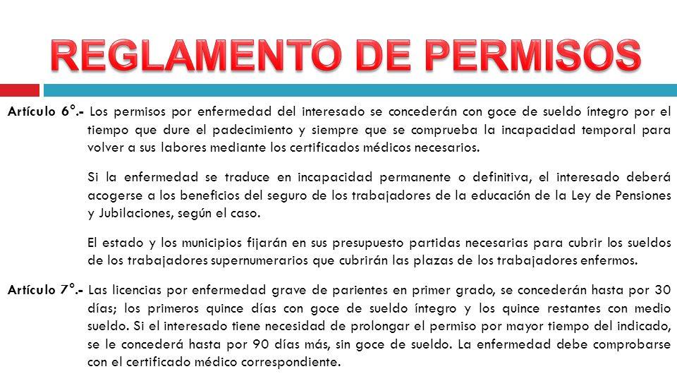 Artículo 6°.- Los permisos por enfermedad del interesado se concederán con goce de sueldo íntegro por el tiempo que dure el padecimiento y siempre que
