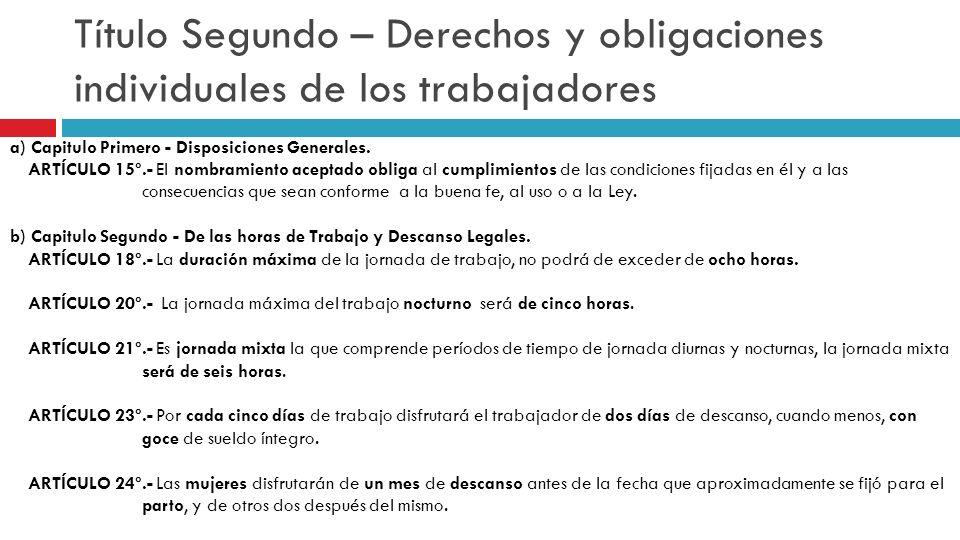 Título Segundo – Derechos y obligaciones individuales de los trabajadores a) Capitulo Primero - Disposiciones Generales. ARTÍCULO 15º.- El nombramient