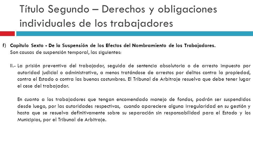 Título Segundo – Derechos y obligaciones individuales de los trabajadores f)Capitulo Sexto - De la Suspensión de los Efectos del Nombramiento de los T