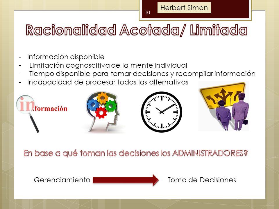 10 -Información disponible - Limitación cognoscitiva de la mente individual - Tiempo disponible para tomar decisiones y recompilar información -Incapa