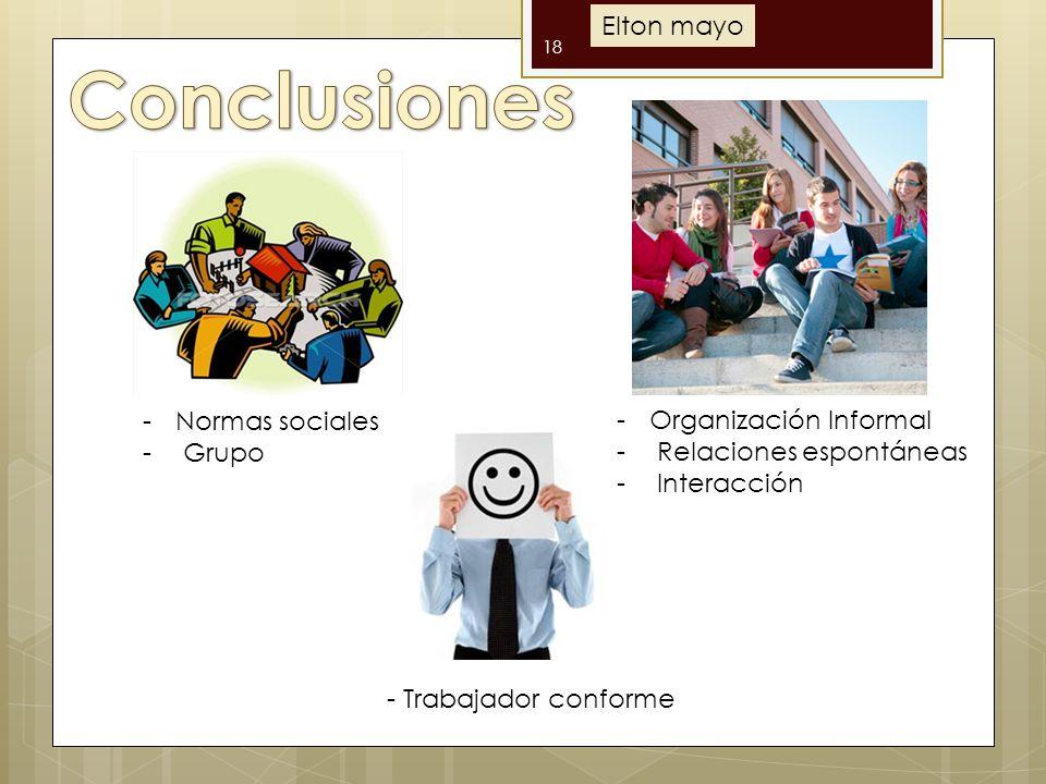 18 -Organización Informal - Relaciones espontáneas - Interacción -Normas sociales - Grupo - Trabajador conforme Elton mayo