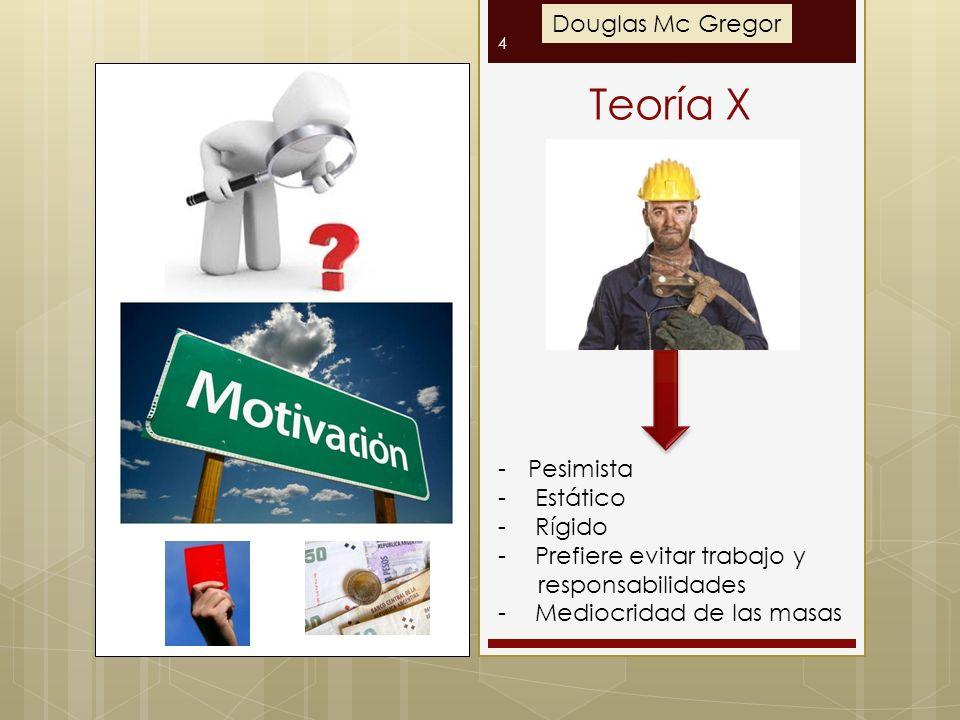 Teoría X 4 -Pesimista - Estático - Rígido - Prefiere evitar trabajo y responsabilidades - Mediocridad de las masas Douglas Mc Gregor
