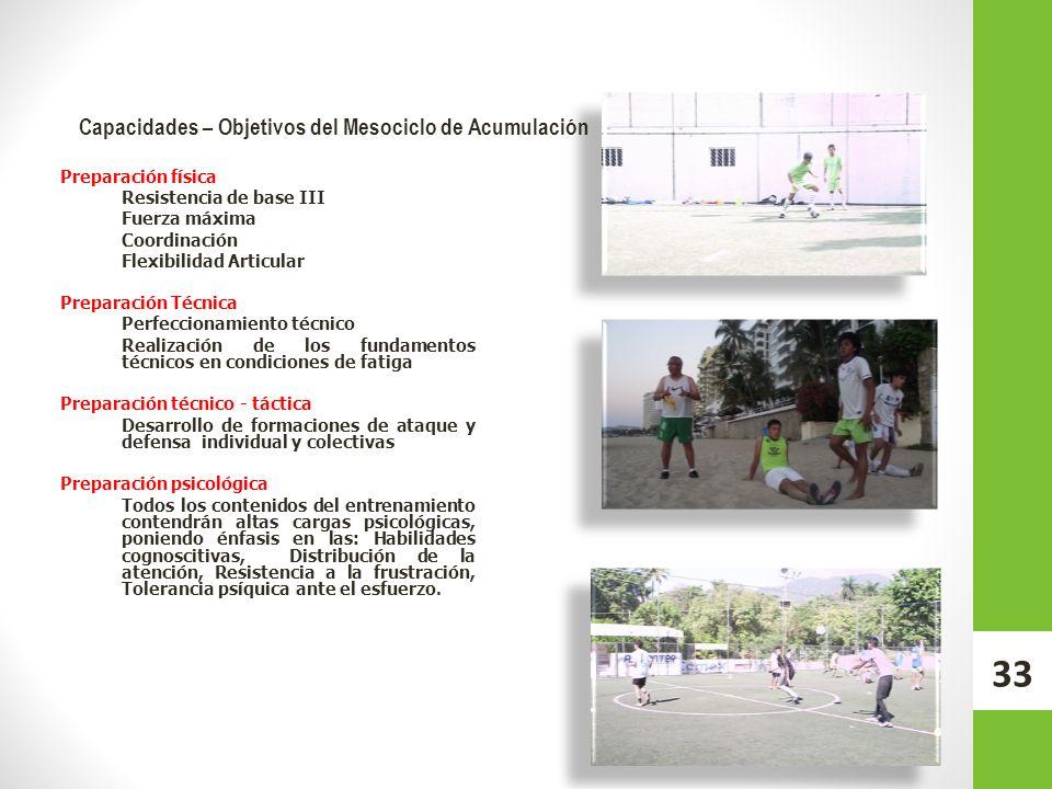 Capacidades – Objetivos del Mesociclo de Acumulación Preparación física Resistencia de base III Fuerza máxima Coordinación Flexibilidad Articular Prep