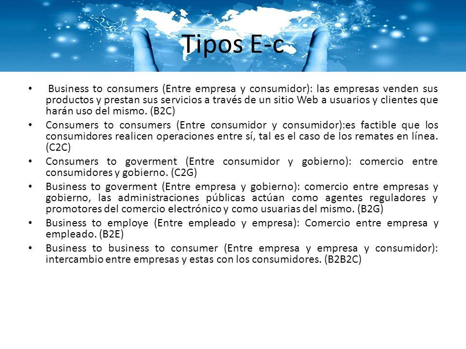 Tipos E-c Business to consumers (Entre empresa y consumidor): las empresas venden sus productos y prestan sus servicios a través de un sitio Web a usu