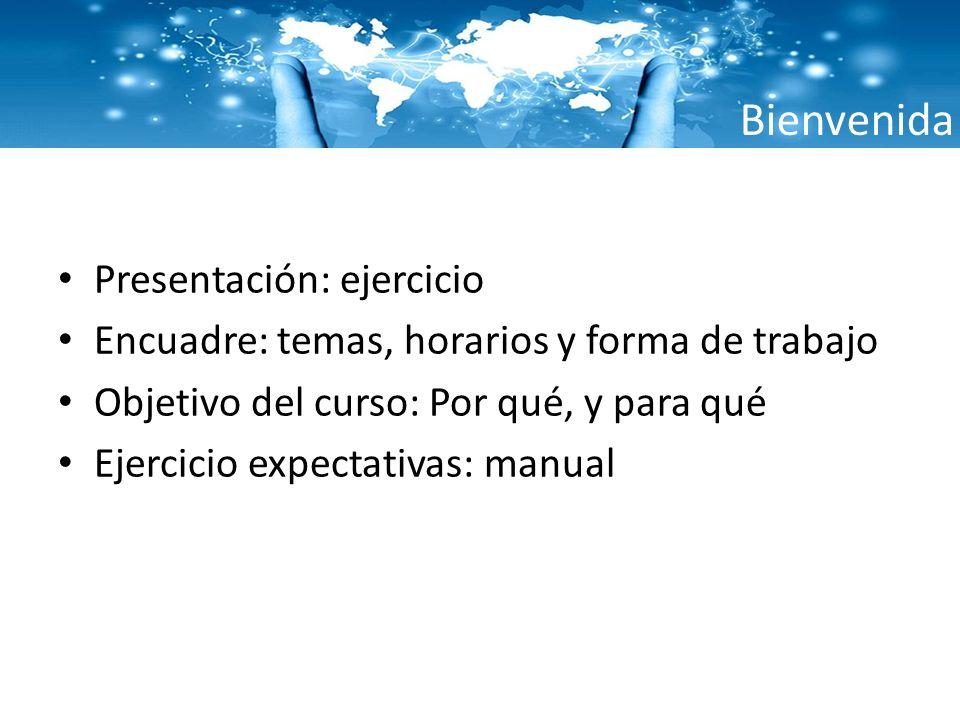Bienvenida Presentación: ejercicio Encuadre: temas, horarios y forma de trabajo Objetivo del curso: Por qué, y para qué Ejercicio expectativas: manual