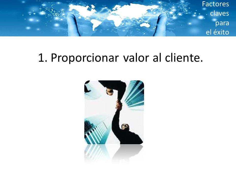 Factores claves para el éxito 1. Proporcionar valor al cliente.