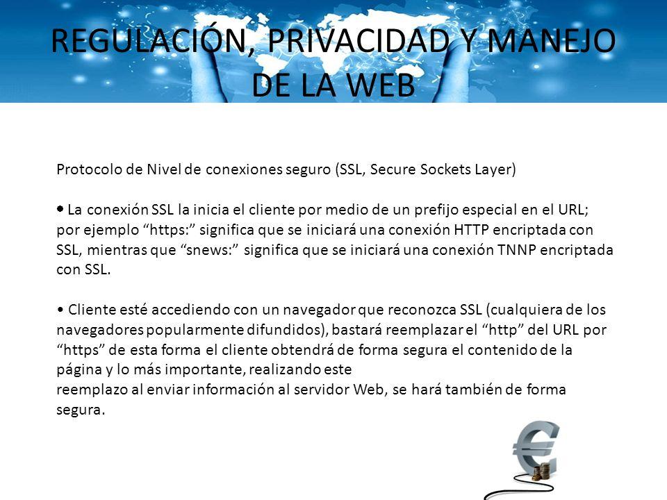 REGULACIÓN, PRIVACIDAD Y MANEJO DE LA WEB Protocolo de Nivel de conexiones seguro (SSL, Secure Sockets Layer) La conexión SSL la inicia el cliente por