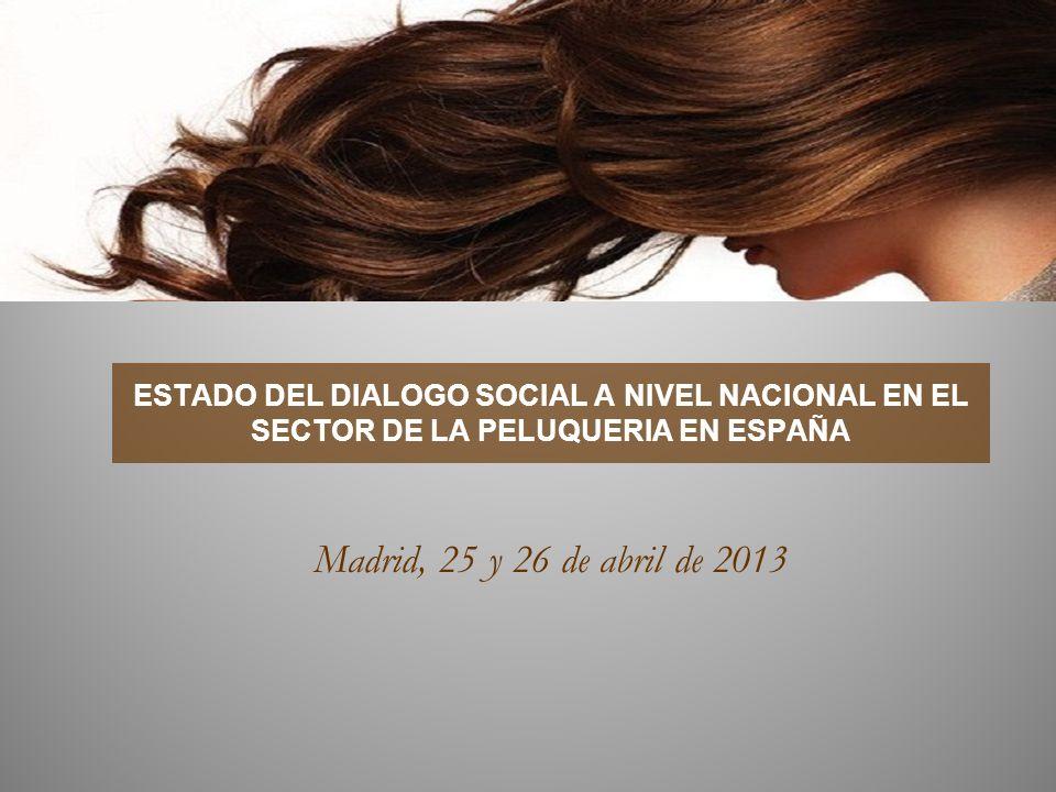 ESTADO DEL DIALOGO SOCIAL A NIVEL NACIONAL EN EL SECTOR DE LA PELUQUERIA EN ESPAÑA Madrid, 25 y 26 de abril de 2013