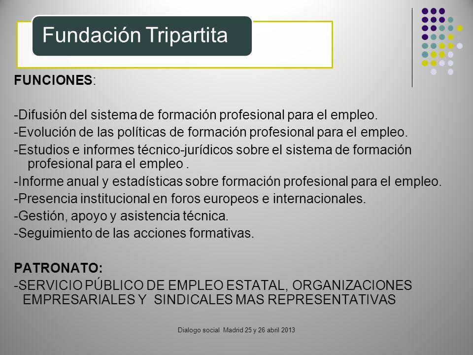 Dialogo social Madrid 25 y 26 abril 2013 Fundación Tripartita FUNCIONES: -Difusión del sistema de formación profesional para el empleo. -Evolución de