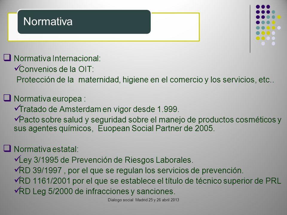Normativa Internacional: Convenios de la OIT: Protección de la maternidad, higiene en el comercio y los servicios, etc.. Normativa europea : Tratado d
