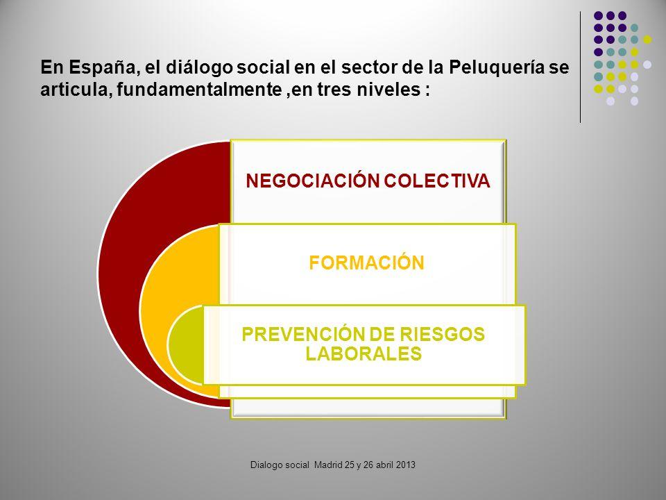 Dialogo social Madrid 25 y 26 abril 2013 NEGOCIACIÓN COLECTIVA FORMACIÓN PREVENCIÓN DE RIESGOS LABORALES En España, el diálogo social en el sector de la Peluquería se articula, fundamentalmente,en tres niveles :