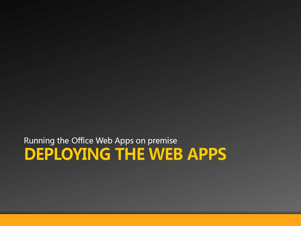Running the Office Web Apps on premise