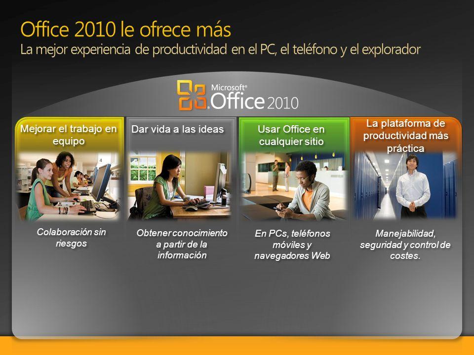 Mejorar el trabajo en equipo Mejorar el trabajo en equipo Dar vida a las ideas Usar Office en cualquier sitio Usar Office en cualquier sitio Colaborac