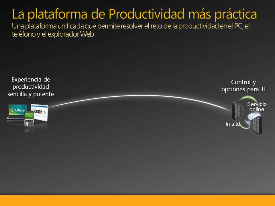 Control y opciones para TI Experiencia de productividad sencilla y potente