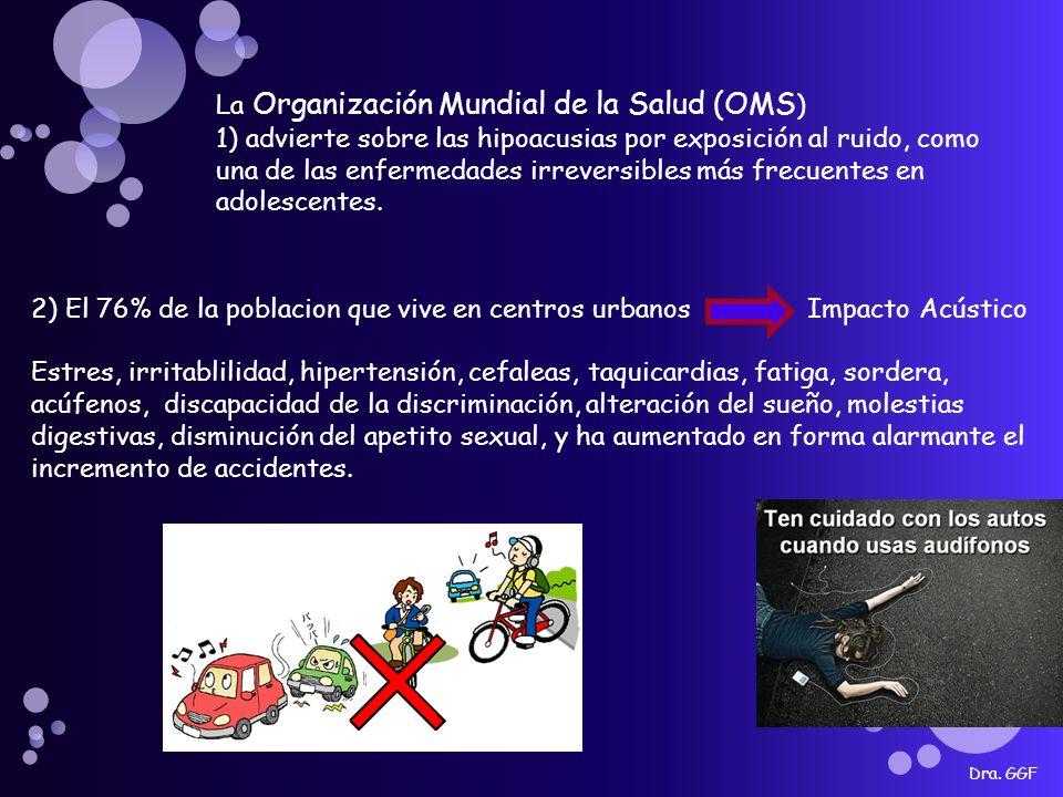 Dra. GGF La Organización Mundial de la Salud (OMS ) 1) advierte sobre las hipoacusias por exposición al ruido, como una de las enfermedades irreversib