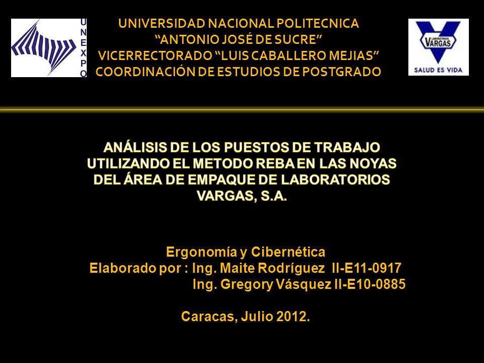 Ergonomía y Cibernética Elaborado por : Ing. Maite Rodríguez II-E11-0917 Ing. Gregory Vásquez II-E10-0885 Caracas, Julio 2012. UNIVERSIDAD NACIONAL PO