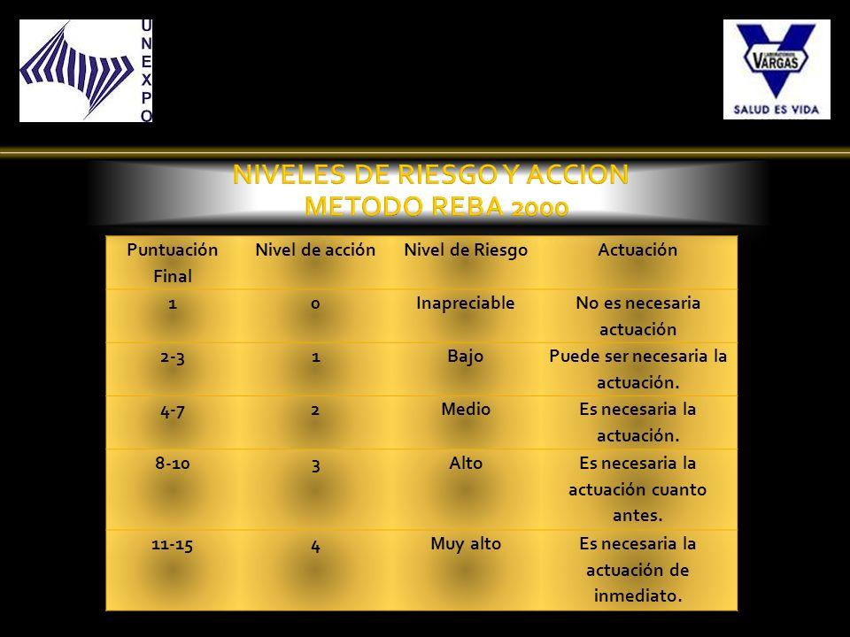 Puntuación Final Nivel de acciónNivel de RiesgoActuación 10Inapreciable No es necesaria actuación 2-31Bajo Puede ser necesaria la actuación. 4-72Medio