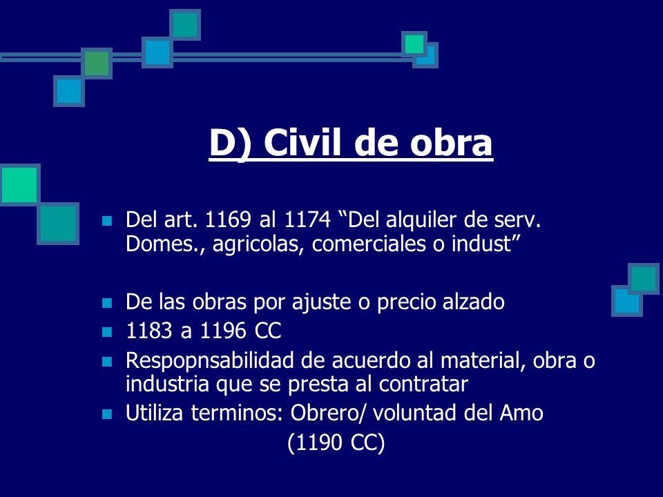 D) Civil de obra Del art. 1169 al 1174 Del alquiler de serv. Domes., agricolas, comerciales o indust De las obras por ajuste o precio alzado 1183 a 11