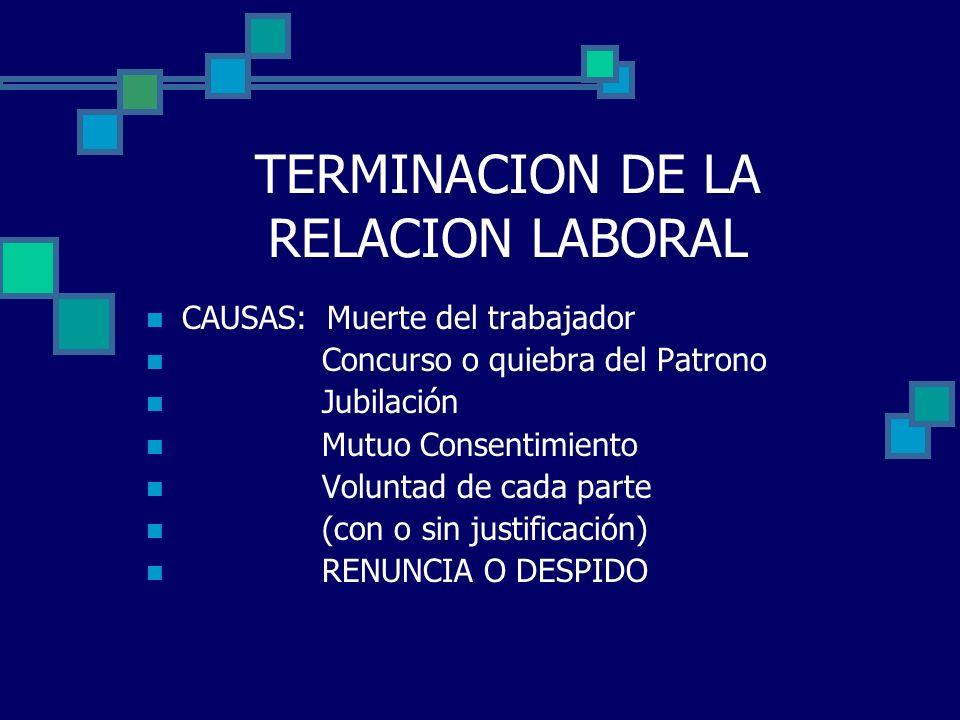TERMINACION DE LA RELACION LABORAL CAUSAS: Muerte del trabajador Concurso o quiebra del Patrono Jubilación Mutuo Consentimiento Voluntad de cada parte