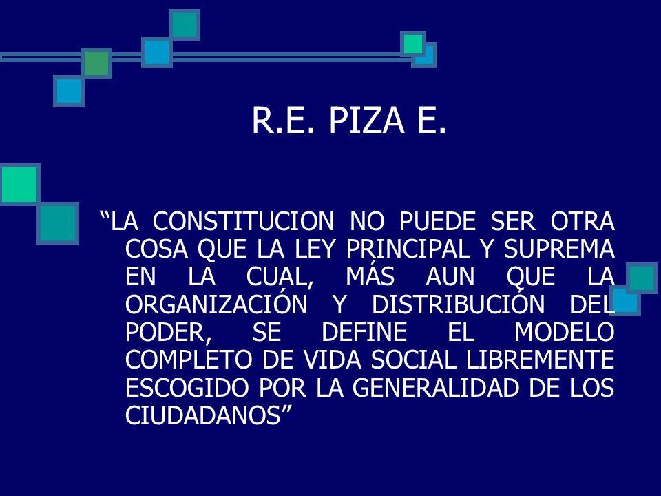 R.E. PIZA E. LA CONSTITUCION NO PUEDE SER OTRA COSA QUE LA LEY PRINCIPAL Y SUPREMA EN LA CUAL, MÁS AUN QUE LA ORGANIZACIÓN Y DISTRIBUCIÓN DEL PODER, S