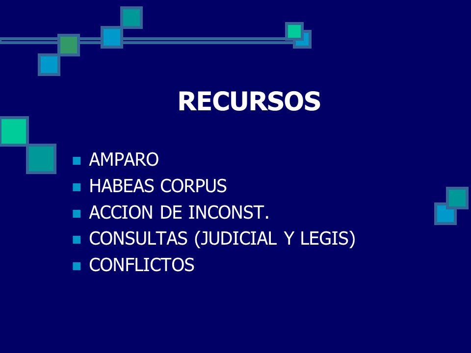 RECURSOS AMPARO HABEAS CORPUS ACCION DE INCONST. CONSULTAS (JUDICIAL Y LEGIS) CONFLICTOS