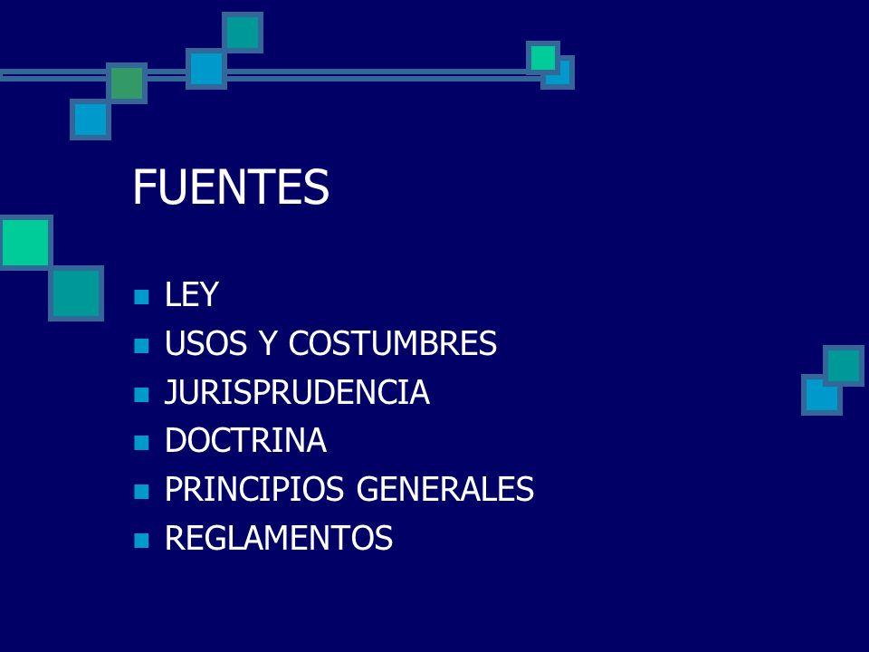 FUENTES LEY USOS Y COSTUMBRES JURISPRUDENCIA DOCTRINA PRINCIPIOS GENERALES REGLAMENTOS