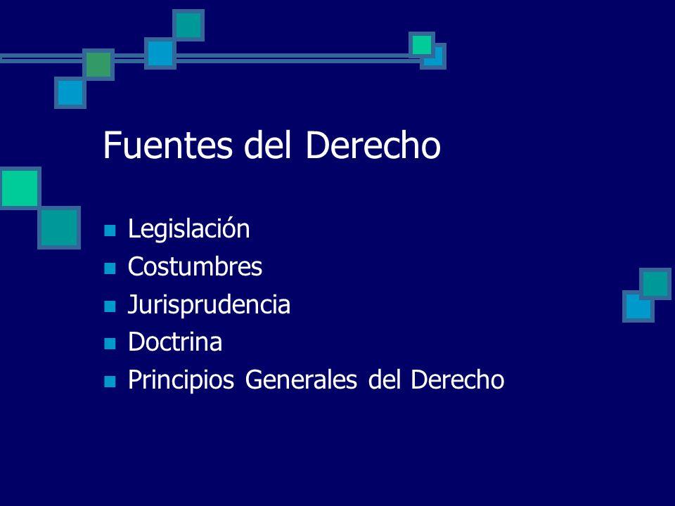Fuentes del Derecho Legislación Costumbres Jurisprudencia Doctrina Principios Generales del Derecho