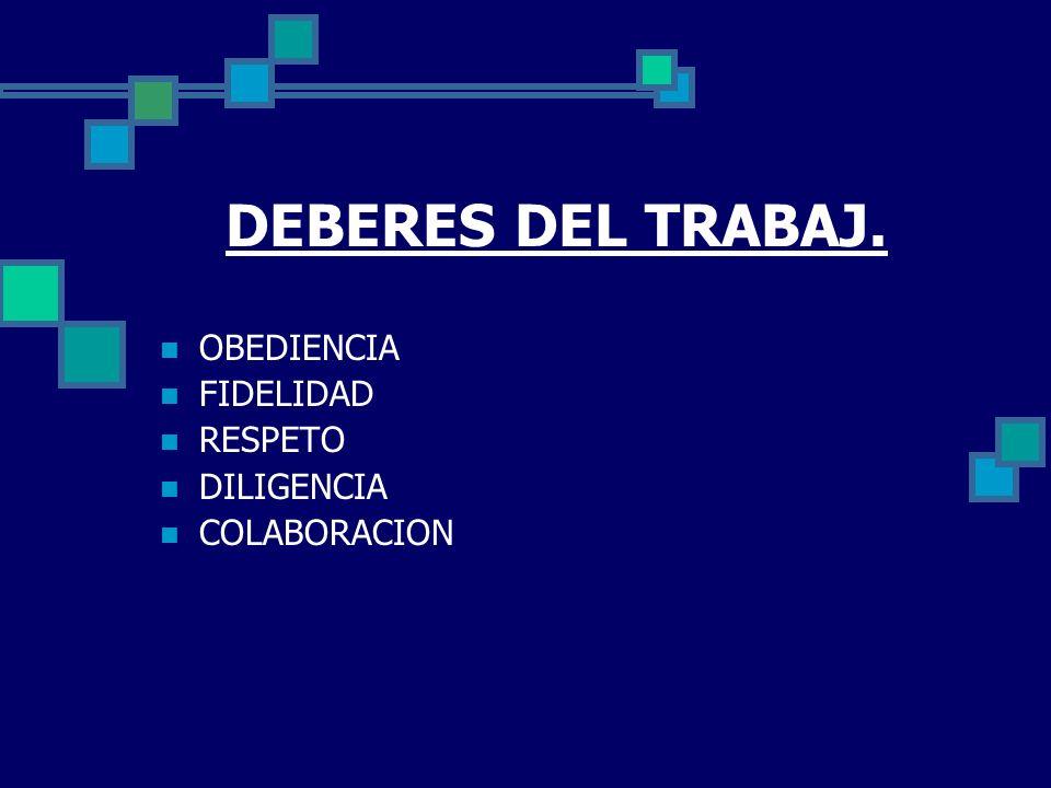 DEBERES DEL TRABAJ. OBEDIENCIA FIDELIDAD RESPETO DILIGENCIA COLABORACION