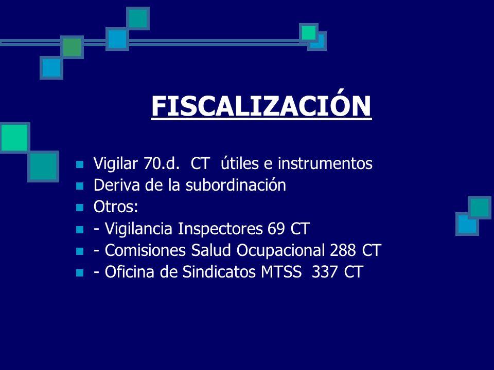 FISCALIZACIÓN Vigilar 70.d. CT útiles e instrumentos Deriva de la subordinación Otros: - Vigilancia Inspectores 69 CT - Comisiones Salud Ocupacional 2