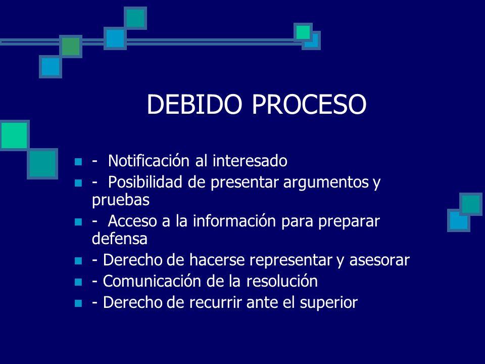 DEBIDO PROCESO - Notificación al interesado - Posibilidad de presentar argumentos y pruebas - Acceso a la información para preparar defensa - Derecho