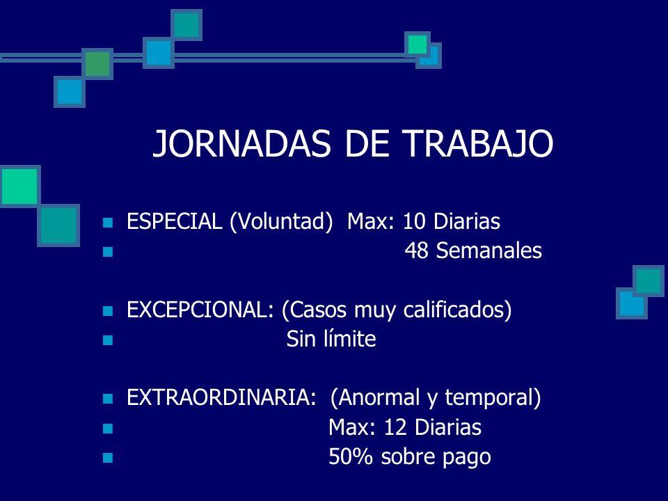 JORNADAS DE TRABAJO ESPECIAL (Voluntad) Max: 10 Diarias 48 Semanales EXCEPCIONAL: (Casos muy calificados) Sin límite EXTRAORDINARIA: (Anormal y tempor