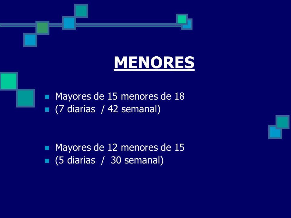 MENORES Mayores de 15 menores de 18 (7 diarias / 42 semanal) Mayores de 12 menores de 15 (5 diarias / 30 semanal)