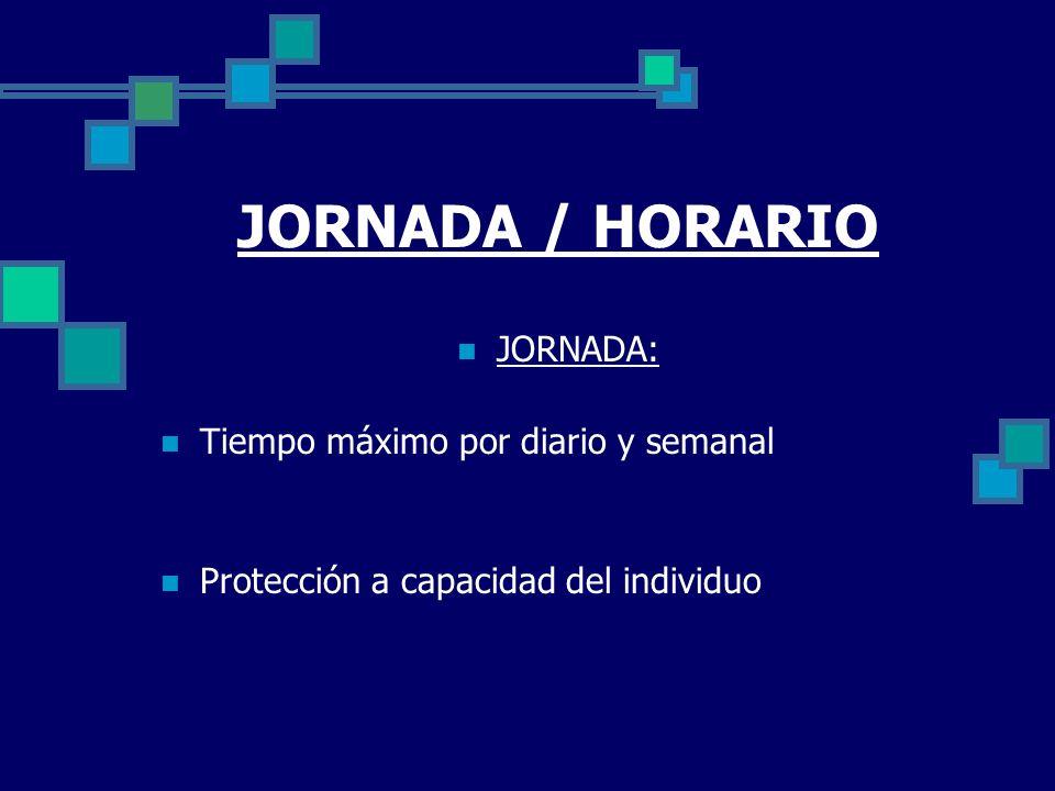 JORNADA / HORARIO JORNADA: Tiempo máximo por diario y semanal Protección a capacidad del individuo
