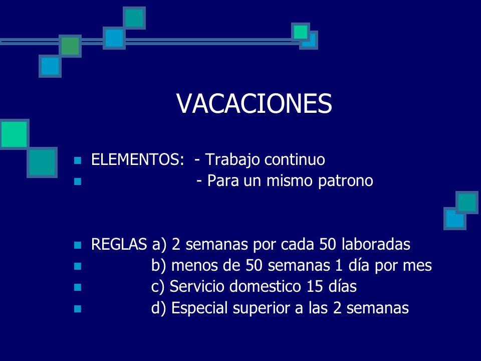 VACACIONES ELEMENTOS: - Trabajo continuo - Para un mismo patrono REGLAS a) 2 semanas por cada 50 laboradas b) menos de 50 semanas 1 día por mes c) Ser