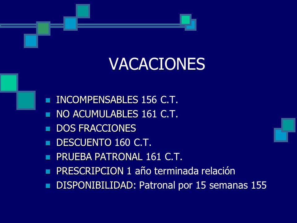 VACACIONES INCOMPENSABLES INCOMPENSABLES 156 C.T. NO ACUMULABLES NO ACUMULABLES 161 C.T. DOS FRACCIONES DOS FRACCIONES DESCUENTO DESCUENTO 160 C.T. PR