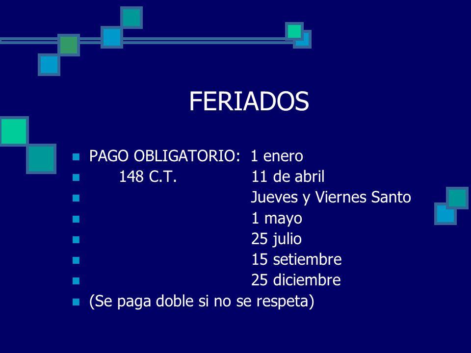 FERIADOS PAGO OBLIGATORIO: 1 enero 148 C.T. 11 de abril Jueves y Viernes Santo 1 mayo 25 julio 15 setiembre 25 diciembre (Se paga doble si no se respe