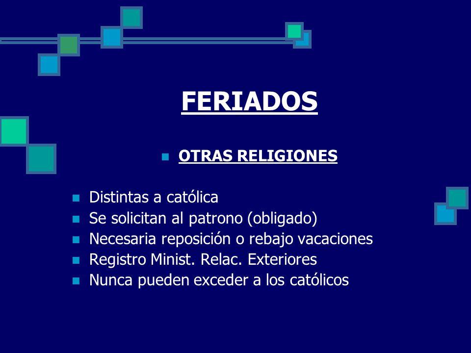 FERIADOS OTRAS RELIGIONES Distintas a católica Se solicitan al patrono (obligado) Necesaria reposición o rebajo vacaciones Registro Minist. Relac. Ext