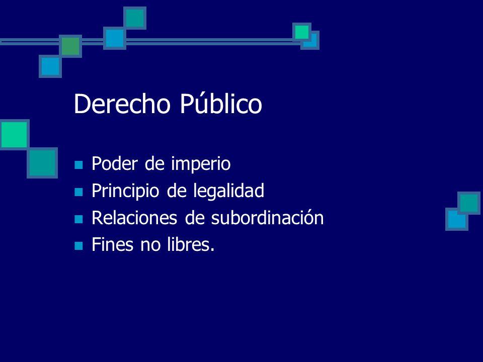 Derecho Público Poder de imperio Principio de legalidad Relaciones de subordinación Fines no libres.