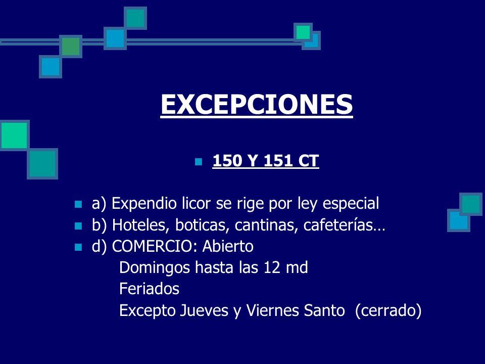 EXCEPCIONES 150 Y 151 CT a) Expendio licor se rige por ley especial b) Hoteles, boticas, cantinas, cafeterías… d) COMERCIO: Abierto Domingos hasta las