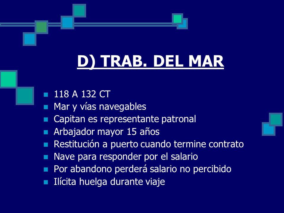D) TRAB. DEL MAR 118 A 132 CT Mar y vías navegables Capitan es representante patronal Arbajador mayor 15 años Restitución a puerto cuando termine cont
