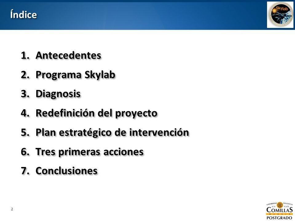 2 ÍndiceÍndice 1.Antecedentes 2.Programa Skylab 3.Diagnosis 4.Redefinición del proyecto 5.Plan estratégico de intervención 6.Tres primeras acciones 7.