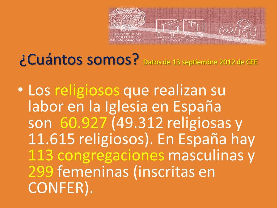 ¿Cuántos somos? Datos de 13 septiembre 2012 de CEE Los religiosos que realizan su labor en la Iglesia en España son 60.927 (49.312 religiosas y 11.615
