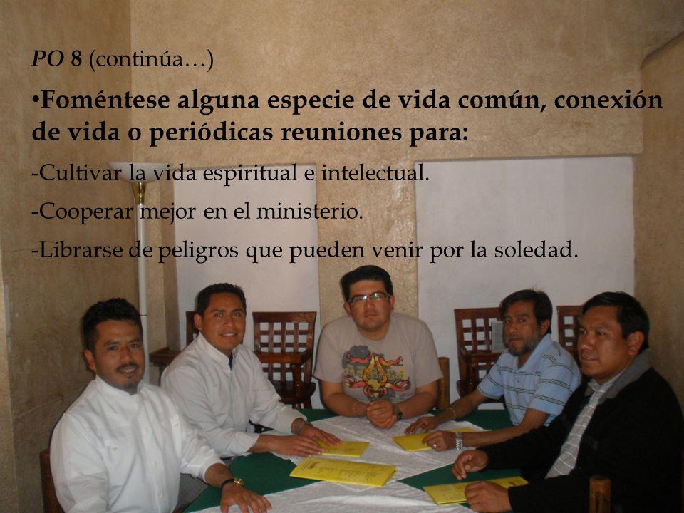 PO 8 (continúa…) Foméntese alguna especie de vida común, conexión de vida o periódicas reuniones para: -Cultivar la vida espiritual e intelectual.