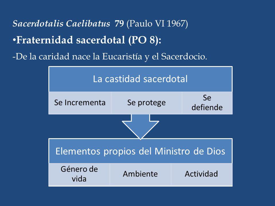 Sacerdotalis Caelibatus 79 (Paulo VI 1967) Fraternidad sacerdotal (PO 8): -De la caridad nace la Eucaristía y el Sacerdocio.