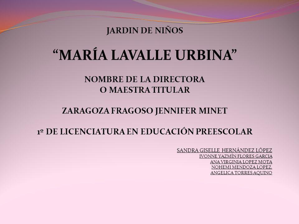 JARDIN DE NIÑOS MARÍA LAVALLE URBINA NOMBRE DE LA DIRECTORA O MAESTRA TITULAR ZARAGOZA FRAGOSO JENNIFER MINET 1º DE LICENCIATURA EN EDUCACIÓN PREESCOL
