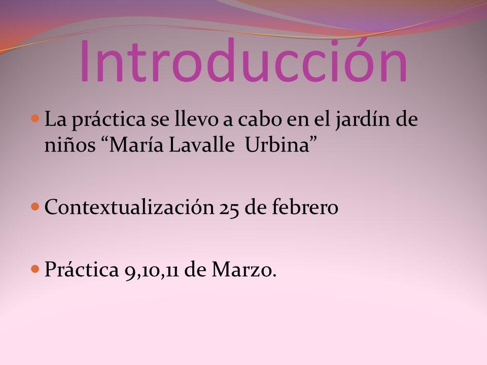 Introducción La práctica se llevo a cabo en el jardín de niños María Lavalle Urbina Contextualización 25 de febrero Práctica 9,10,11 de Marzo.