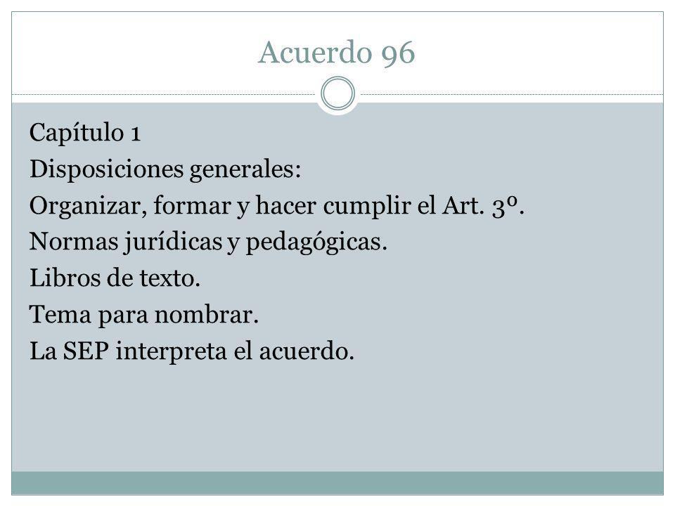 Acuerdo 96 Capítulo 1 Disposiciones generales: Organizar, formar y hacer cumplir el Art. 3º. Normas jurídicas y pedagógicas. Libros de texto. Tema par