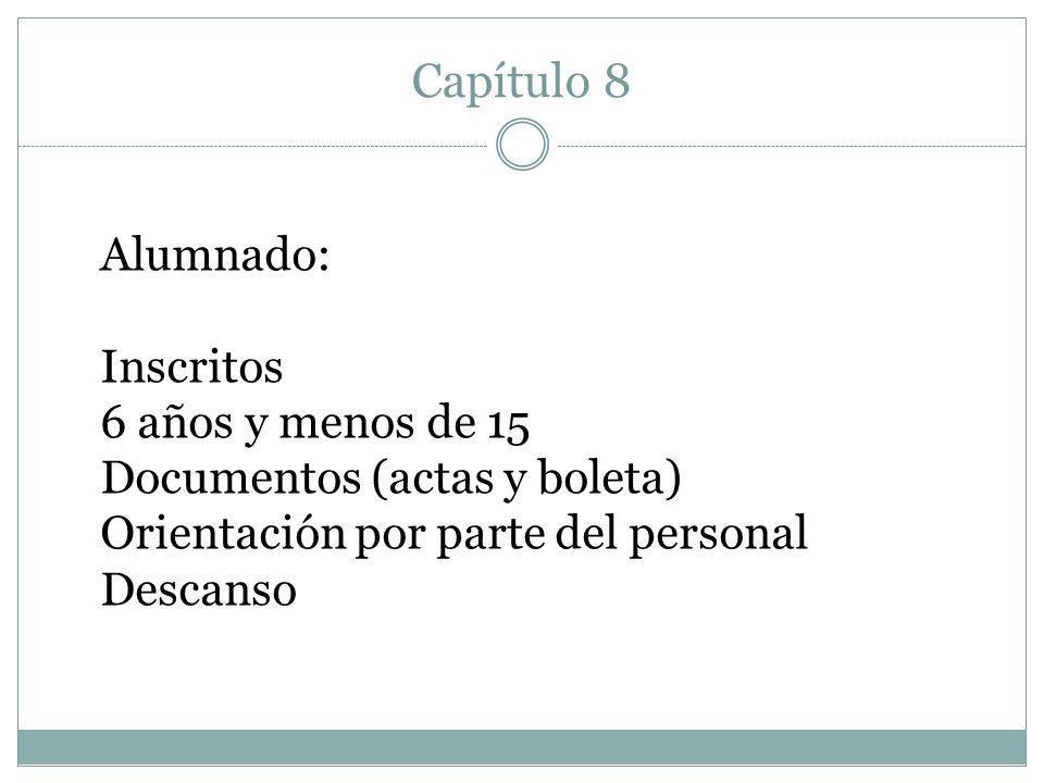 Capítulo 8 Alumnado: Inscritos 6 años y menos de 15 Documentos (actas y boleta) Orientación por parte del personal Descanso